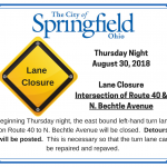 Lane Closure – Rt. 40 & N. Bechtle Ave