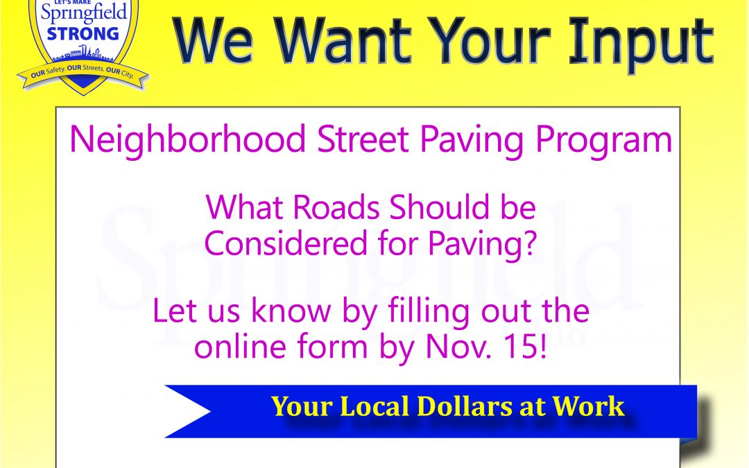 Which Roads Should be Considered for Paving? We Want Your Input!