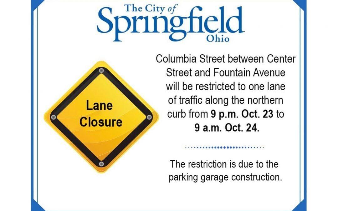 Columbia to One Lane Overnight Wednesday