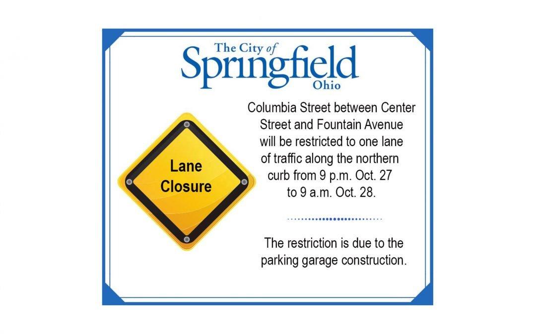 Columbia Street Lanes to Close Sunday Night