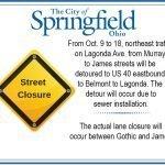 Lagonda Traffic Detoured from Oct. 9 to 18