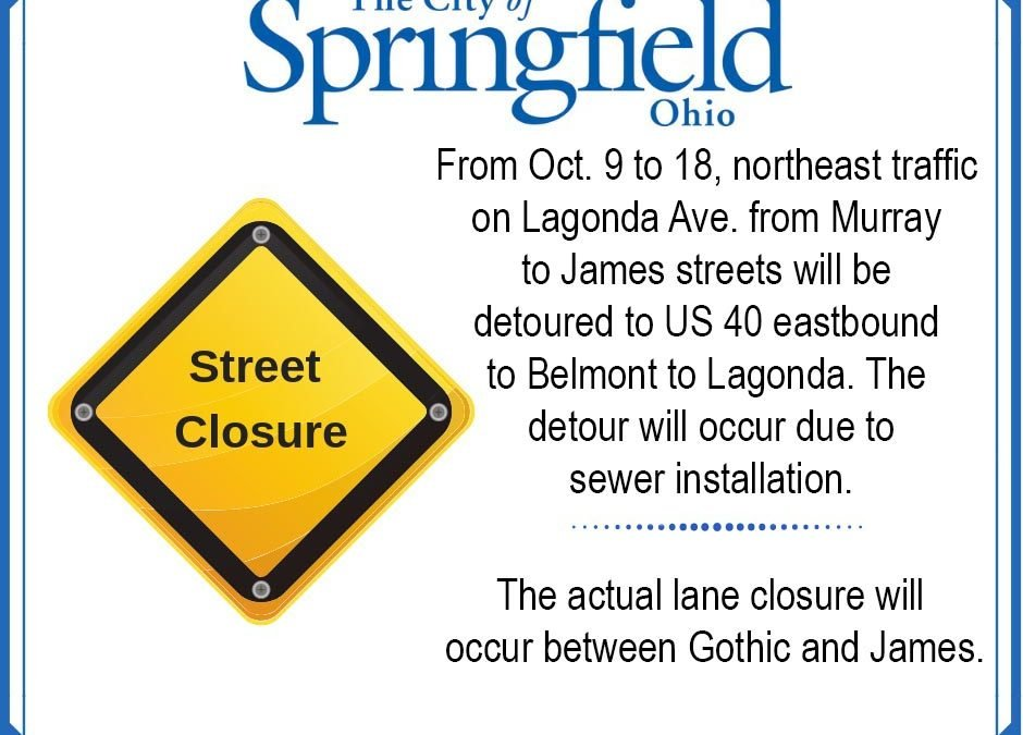 Lagonda Traffic Detoured from Oct. 9 to 18