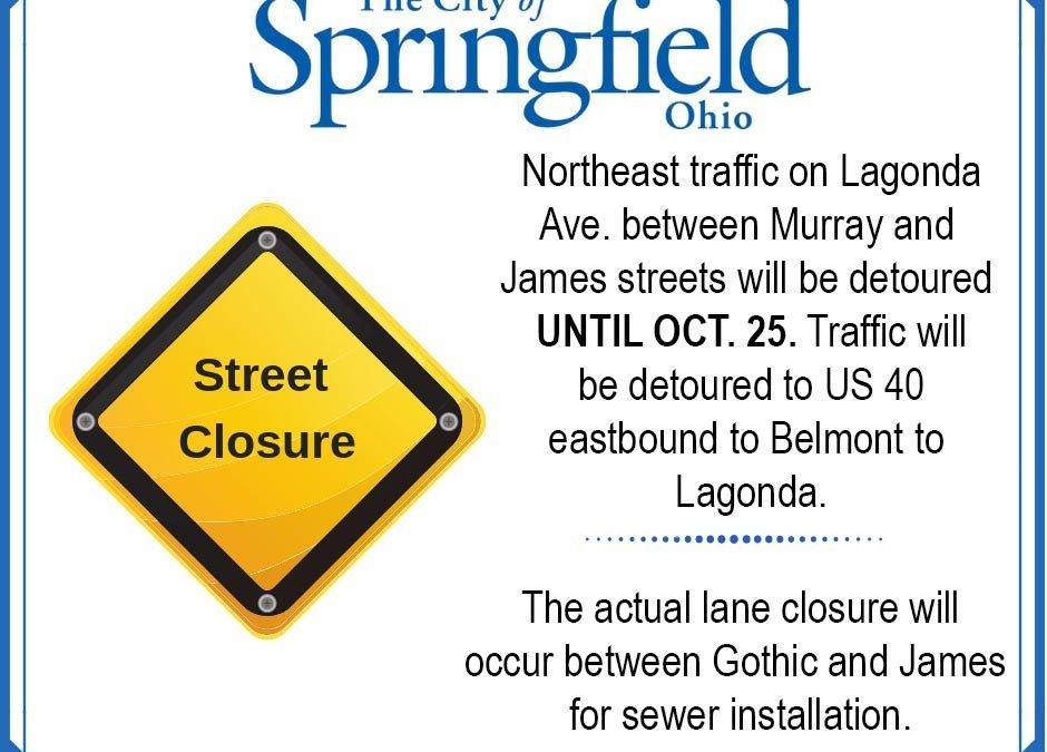 Lagonda Avenue Traffic Detoured Through Oct. 25