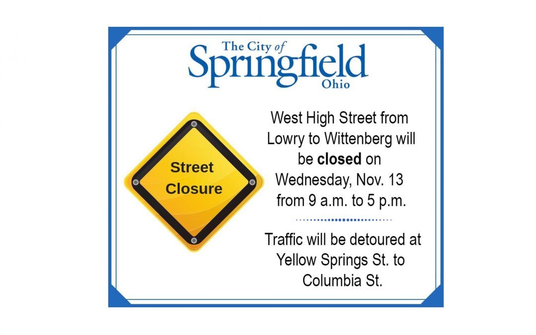 Part of W. High St. to Close Wednesday